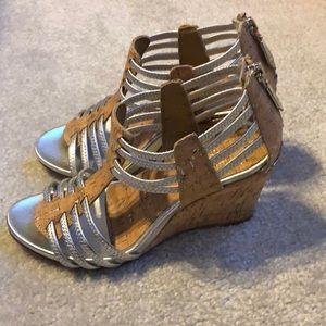 """Donald J Pliner """"Ginnie"""" Cork Wedge Sandals 7.5"""